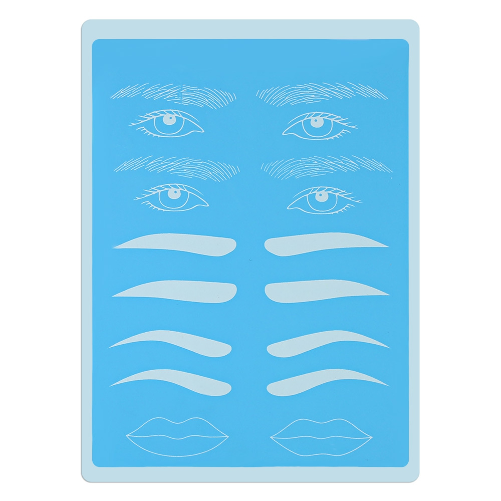 Blue Eyebrow Eyeliner Lip Tattoo Practice Skins Silicone Fake Sheet ...
