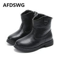 AFDSWG Thick Autumn And Winter Warm Plush Fashion Black Kids Fashion Shoes Leather Boots For Boy