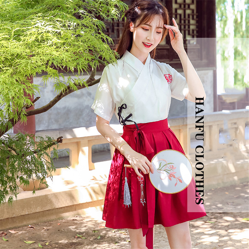 2019 News Hanfu Dress Girl Chinese Style Embroidery Daily Women Traditional Costume Folk Dance Outfit Vintage Party Yangko Tang