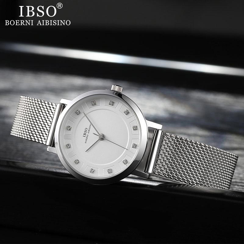 IBSO Women Quartz Watch Set Crystal Design Bracelet Necklace Watch Sets Female Jewelry Set Fashion Silver Set Watch Lady's Gift 3