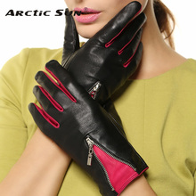 Free shipping fashion contrast color leather gloves women winter Genuine black sheepskin driving