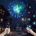 Corda led de fogos de artifício, 100led, dobrável, diy, explosão, colorida, à prova d' água, controle remoto, para festa de natal