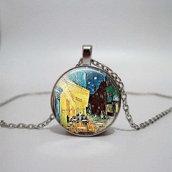 WUSQWSC  Van Gogh, Monet, Klimt, Art Painting Glass Image Pendant Silver Color Chain Fashion Necklace Women's Custom Picture