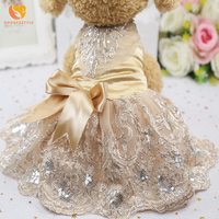 Summer Dog Dress Satin Embroidered Lace Dogs Princess Wedding Dresses Skirt Puppy Clothing Spring Pet Clothes