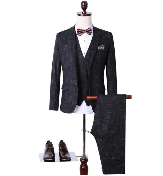 Jacket+Vest+Pants)Slim Fit Wedding Suits For Men Suits With Pants Business Mens Formal Wear High Quality Men's Casual Tuxedos