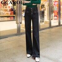 GCAROL New Arrival Women Boyfriend Flare Pants 4 Buttons High Waisted Wide Leg Pants 2 Colors Plus Size Denim Jeans 25 31