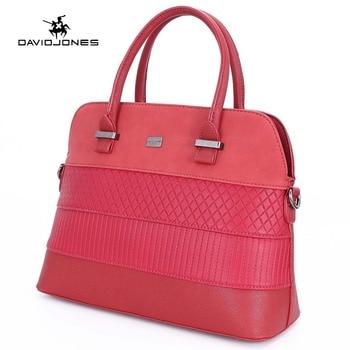 DAVIDJONES women shoulder bags pu leather female handbag large lady patchwork tote bag girl brand top handle bag drop shipping tote bag