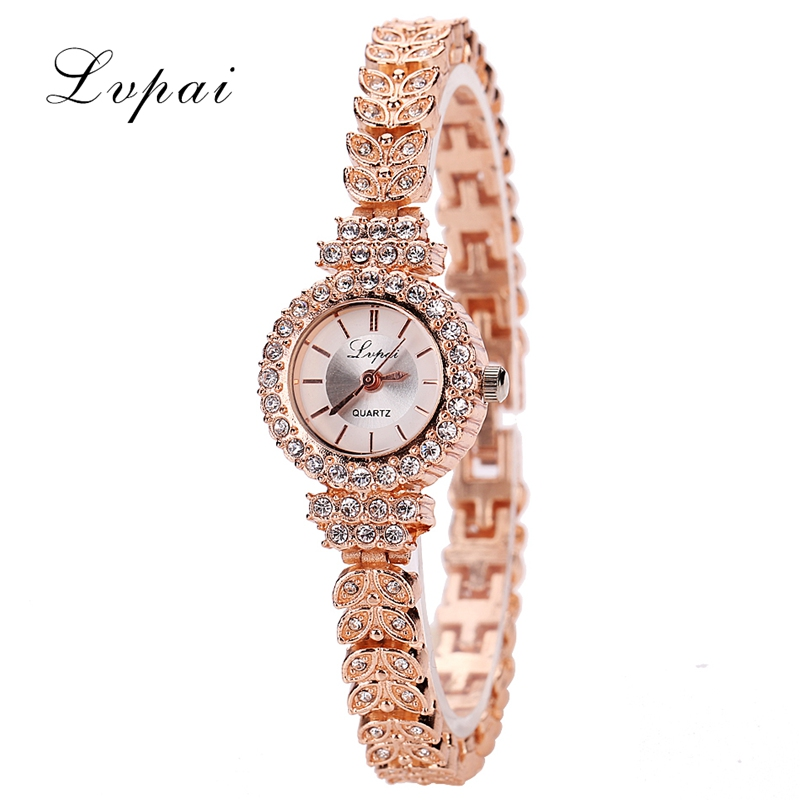 2017 Hot Sale LVPAI Famous Brand Gold Women Bracelet Watch Alloy Pearl Jewelry Quartz WristWatches Women Dress Watches LP012 new arrival famous brand diamond bracelet watch women hot sale luxury silver watch jewelry shinning rhinestone bangle bracelet