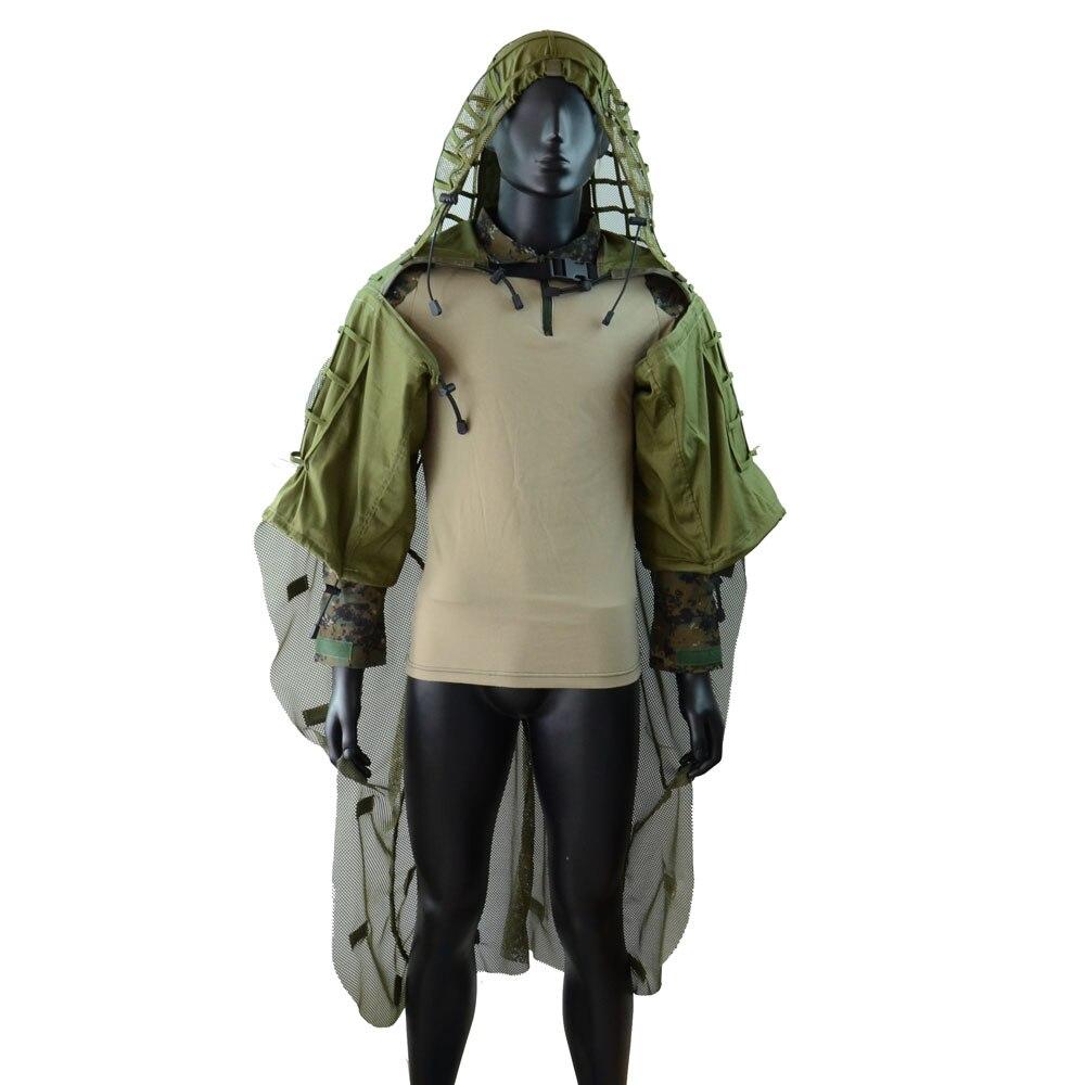 Fond de teint LytHarvest Ghillie avec Cape Ghillie, hottes respirantes pour Viper de Sniper pour Airsoft Paintball Halloween armée vert