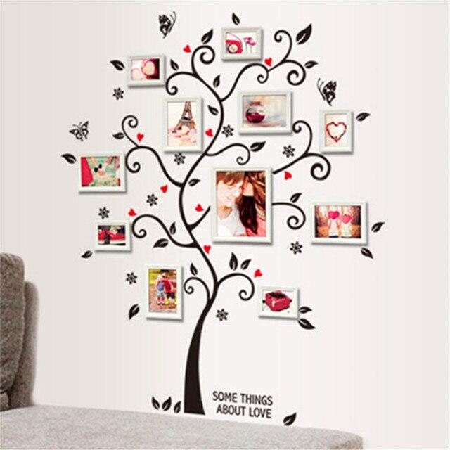 3d Wallpaper For Tv Unit Diy Family Photo Frame Tree Wall Sticker Home Decor Living