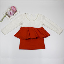 Girls dress 2017 spring and autunm girls lace Khaki red stitching O-neck Long sleeve pearl necklace dress children clothes