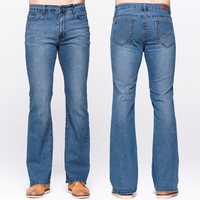 GRG Mens Boot Cut Jeans Slim Fit Mid Waist Slightly Flared Blue Jeans Classic Stretch Denim