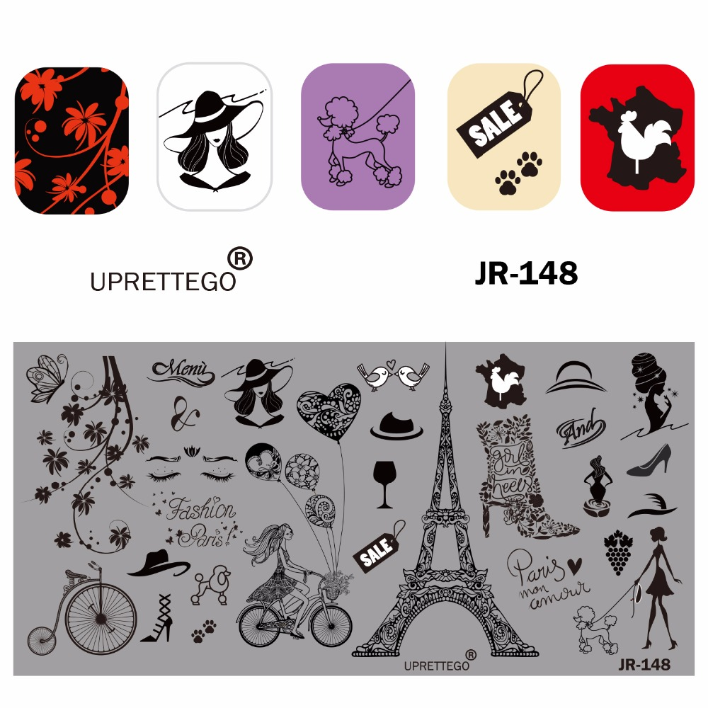 Image 4 - 2019 Stainless Steel Stamping Plate Template Russian Phrase Poker Vintage Flower Cactus Mexico Music Notes Nail Tool JR141 150-in Nail Art Templates from Beauty & Health