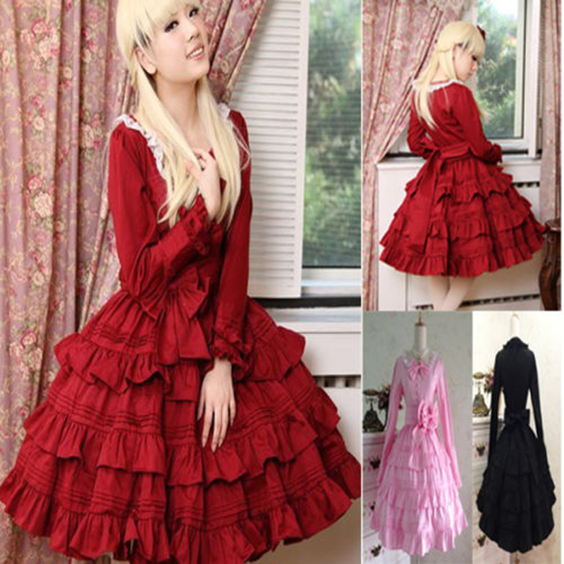 ZNCJ Womens Victorian Lolita Kawaii Dress Gothic Cosplay Angelic Pretty Steampunk Dresses Girls Summer Dress XS-3XL
