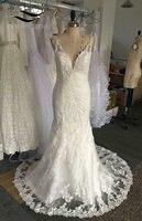 2017 White or Ivory Beaded Mermaid Wedding Dress Lace Bridal Gown 2017 Real Photos Vestido De Noiva robe de mariage W280