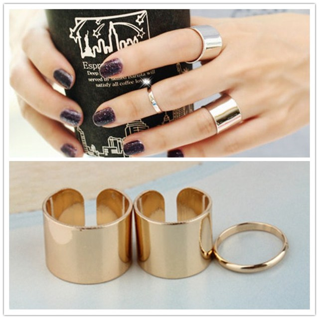 C055 3pc/set Unique Boho Beach Punk Smooth Open Finger Midi Ring Set Party Jewel