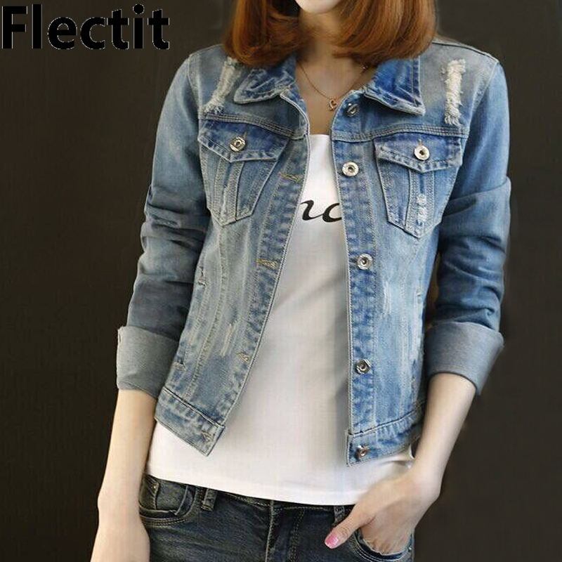 Flectit Women Classic Washed Denim   Jacket   Long Sleeve Slim Fit Jeans   Jacket   Female Casual   Basic     Jackets   & Coats