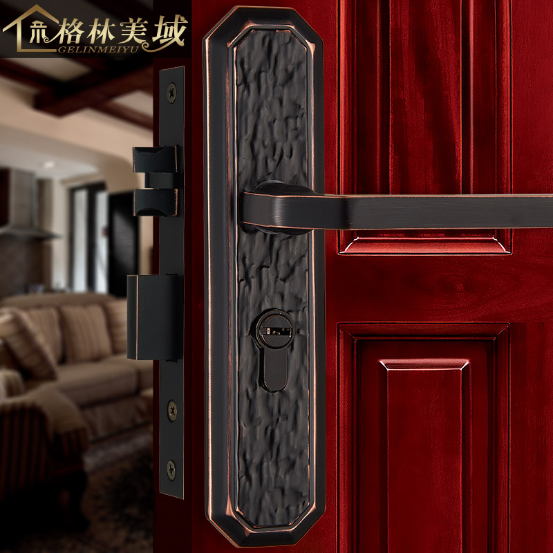 Pure copper door lock European interior wooden door lock Chinese full copper villa door lock bedroom door lock european lock pure copper antique interior wooden door lock full copper door lock villa bedroom door lock