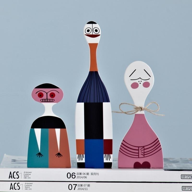 Nuevo moderno abstracto de madera artesanía decoraciones niños regalo bebé juguetes hogar decorativo Simple modelo 3 piezas figuras de Artesanato-in Figuras y miniaturas from Hogar y Mascotas    1