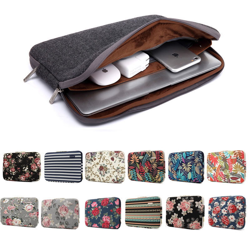 Soft Laptop Bag Case For Macbook Air Pro HUAWEI DELL 13 14 15 Inches  Notebook Sleeve Computer PC Cover Double Zipper 3 Pockets