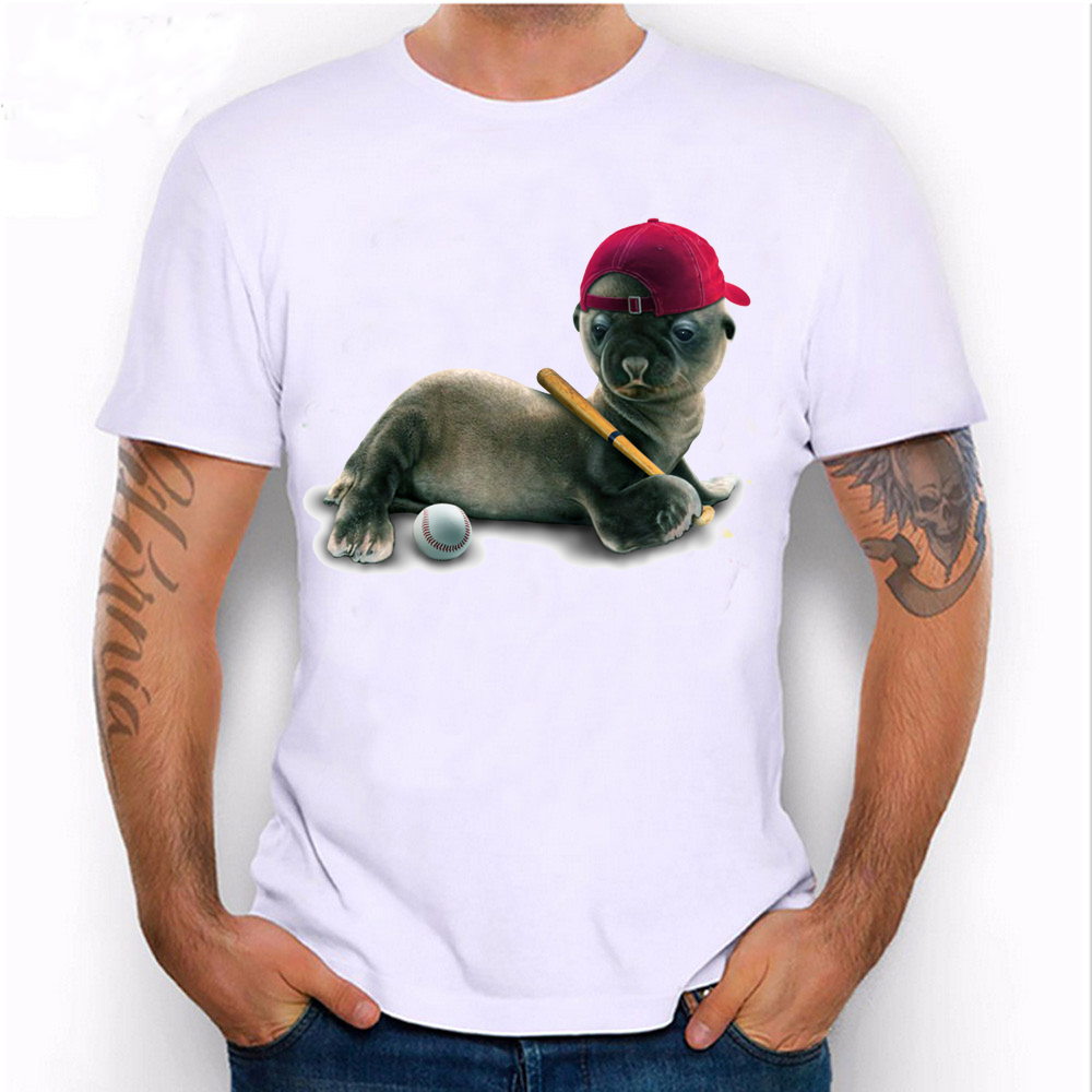 Design t shirt rollerblade - 2017 New Funny Summer Baby Seal Wanna Be Somebody Baseball Design T Shirt Men S Short Sleeve