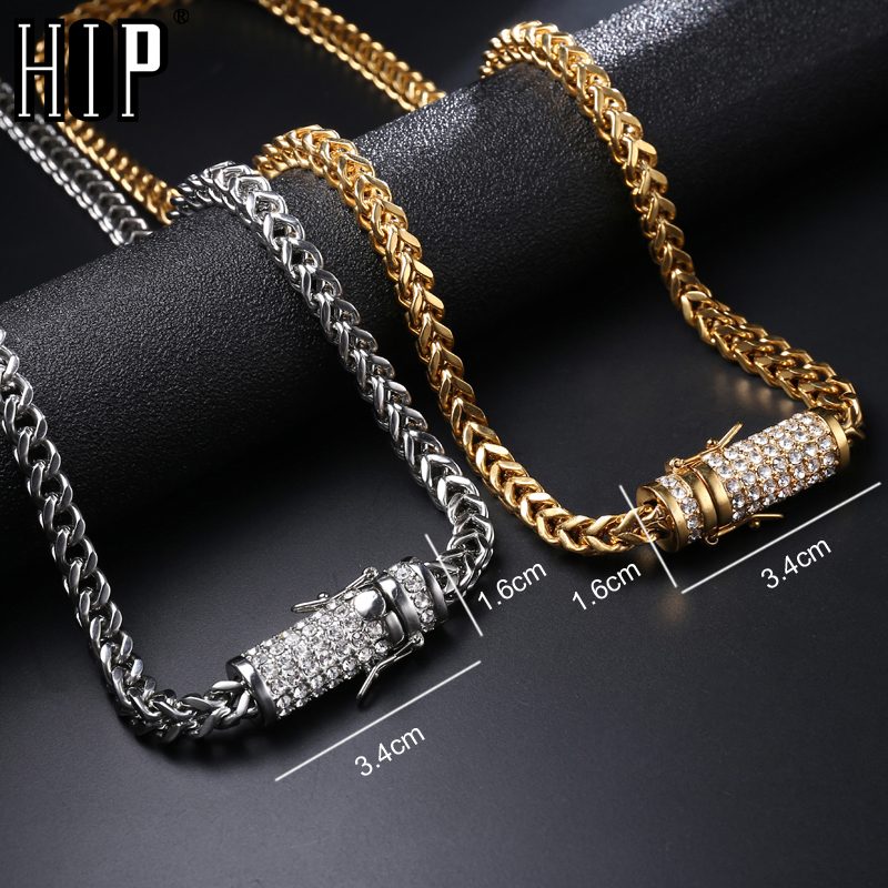 Hip Hop Bling Necklace Iced Out Rhinestone Clasp 6mm Gold Silver Stainless Steel Franco Cuban Box Link Chain Necklace Jewelry petal rhinestone chain fringe necklace