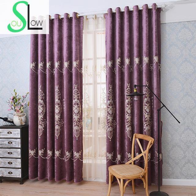 Langsam Seele Blau Rot Europäischen Chenille Bestickten Vorhang Schlafzimmer  Europa Floral Vorhänge Für Wohnzimmer Rideaux Küche
