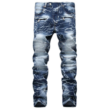 Men's jeans high new quality brand of jeans men Slim straight hole jeans men denim trousers  ripped jeans men