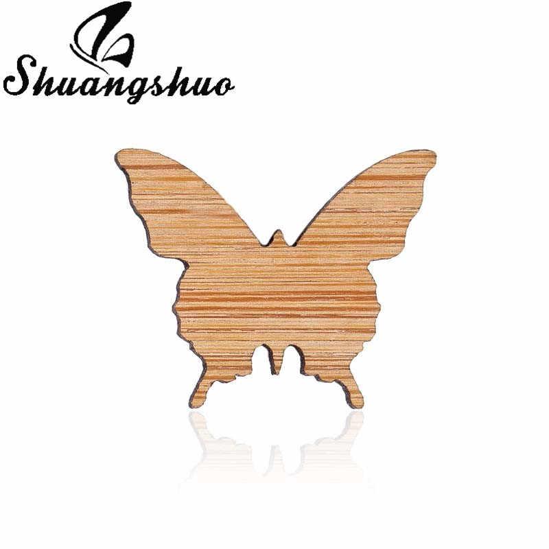 Shuangshuo животное-оригами булавка бабочка Симпатичные деревянные эмаль контакты значки броши-Значки для лацкана ювелирные броши для Для женщин вечерние подарки