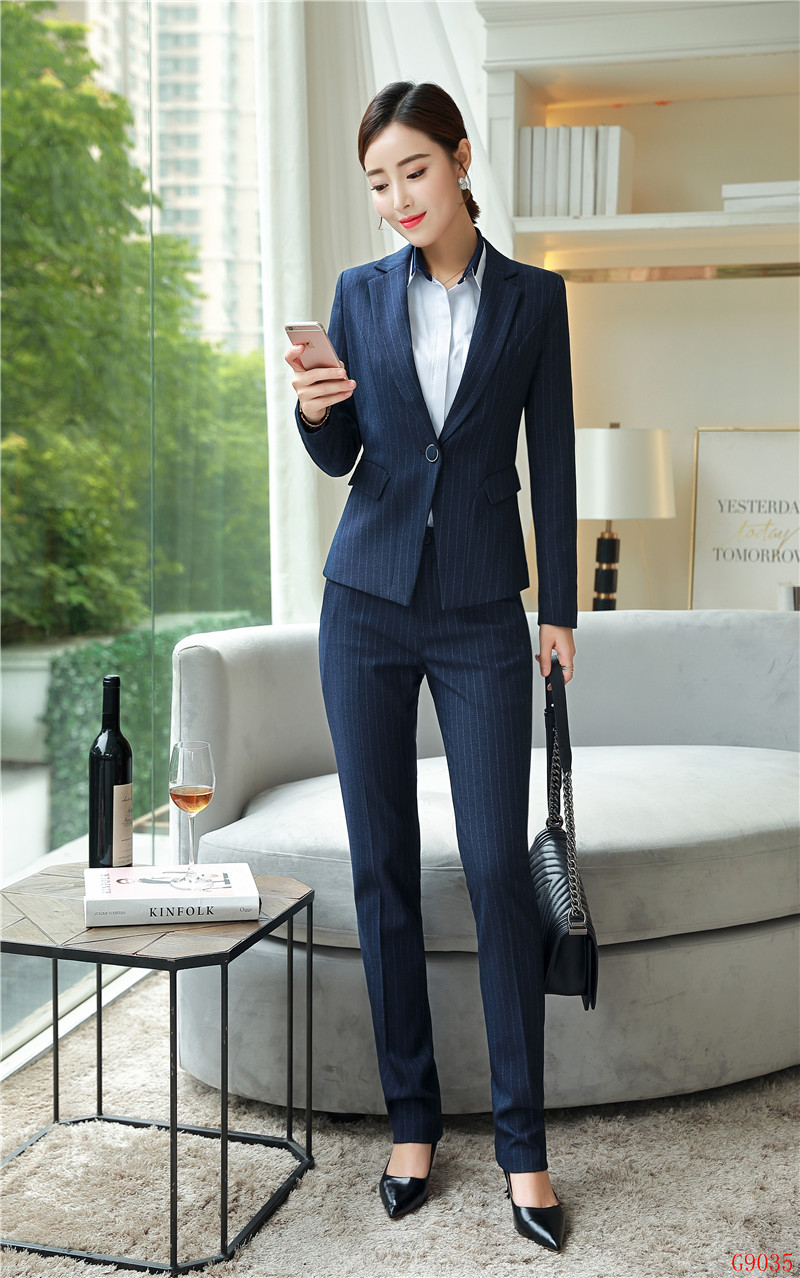 Pant Suits Suits & Sets Formal Women Pant Suits Blazer And Pant Sets Ladies Work Wear Suits Navy Blue Office Uniform Styles