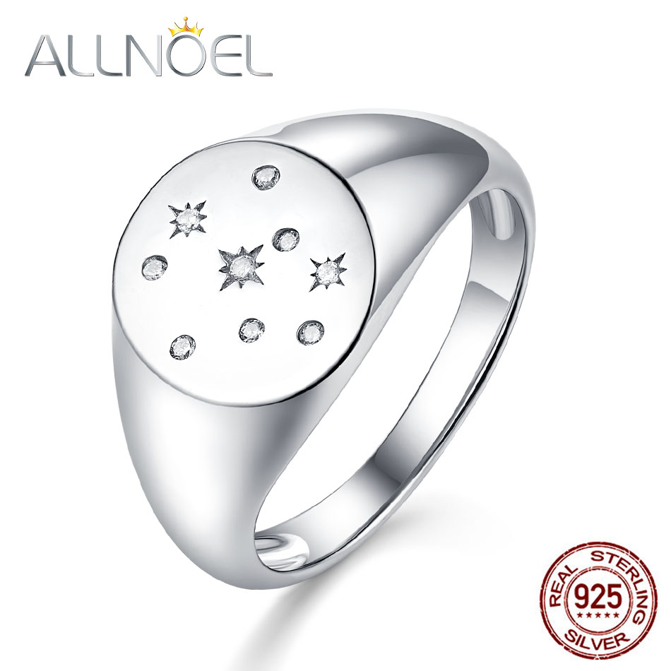 ALLNOEL 100% 925 Sterling Silver Ring For Women Created Handmade Zircon Diamond Gemstone Seal Stamp Gold Rings Jewelry 2019 New