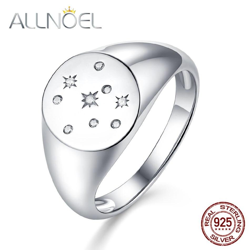 ALLNOEL 100% de Plata de Ley 925 anillo de plata para las mujeres creado hecho a mano de piedras preciosas de diamantes de sello joyería de anillos de oro 2019 nuevo