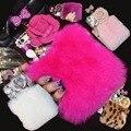 """Caixa Do Telefone de pele Para Huawei P8 5.2 """"de Cristal Bling Do Cabelo Do Coelho frasco de perfume cadeia rosa coque funda capa para huawei mate 7 + gift"""