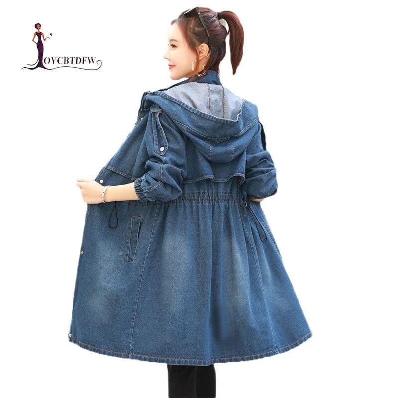À Était Longue 2019 Denim Nouveau Printemps Coupe Trench Capuche Mi coat vent Survêtement Dd0913 Dame Mince Femmes Blue Automne f7gqw60