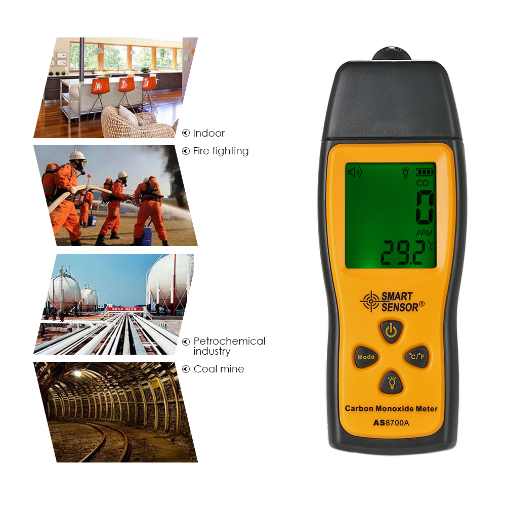 Smart Sonser CO Gas Analyzer mini Carbon Monoxide Meter Tester gas Detector Monitor LCD Sound + Light Alarm 0-1000ppm