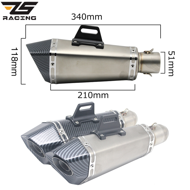 ZS Racing Universal 51MM Motorcycle For KTM CB400 CRF230 FZ1 Escape Moto Akrapovic Exhaust Pipe Muffler Slip-on With DB Killer zs racing 51mm real carbon fiber motorcycle exhaust pipe motocross muffler with db killer cb400 cbr for kawasaki z800 z750 er6r