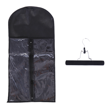 Купить со скидкой Non-woven Suit Case Carrier Package Hair Extensions Storage Bag With Metal Hanger For Virgin Hair We