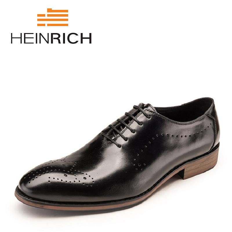 HEINRICH New Fashion Wedding Shoes Men Pointed Toe Black Brogues Stylish Office Dress Leather Shoes Sapatos Masculino SocialHEINRICH New Fashion Wedding Shoes Men Pointed Toe Black Brogues Stylish Office Dress Leather Shoes Sapatos Masculino Social