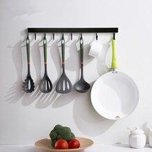 Матовый черный держатель для инструментов, Настенный алюминиевый кухонный стеллаж для хранения ножей, инструментов, крючков