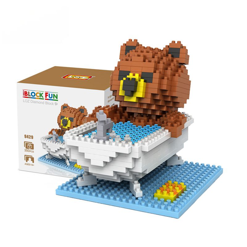 Diamond Blocks Brown Bears Bathroom Bathtub Gift Series Micro Block Cartoon Toys Creative Bricks Building Blocks MOC 9427