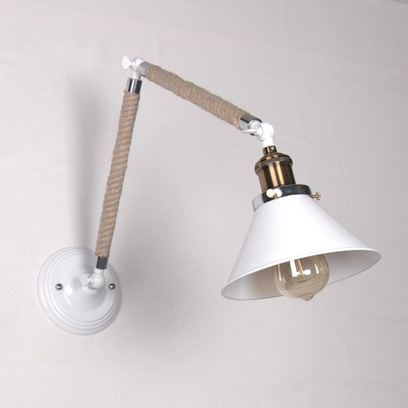Loft Retro Industrial Restaurant Wall Lamp Stairs Corridor Balcony Simple Creative Aisle Bar Iron Hemp Rope Lamp Free Shipping personality creative rope restaurant wall light simple pastoral iron retro wall lamp double section turner lighting