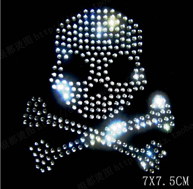 Free ship!20pc!Stylish skull hotfix rhinestones heat transfer design iron  on motifs patches 662c43beb19a