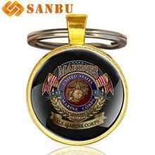 Морской пехоты США брелок Классический Соединенные Штаты морской пехоты логотип худохественное стекло кабошон брелок для ключей