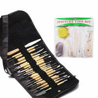 30pcs/Set Pottery Clay Sculpture Carving Modelling Ceramic Wooden Tools Kit DIY Craft For Home Handwork Supplies