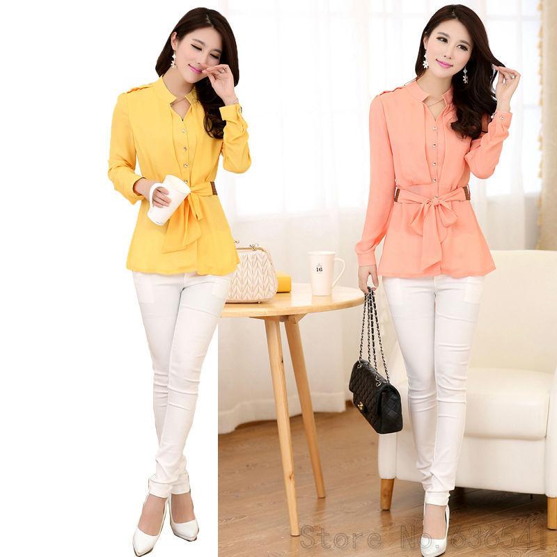 2015-Spring-Summer-Women-Long-Sleeve-Chiffon-Blouse-Shirt-Black-Yellow-Pink-White-Blouse-With-Belt