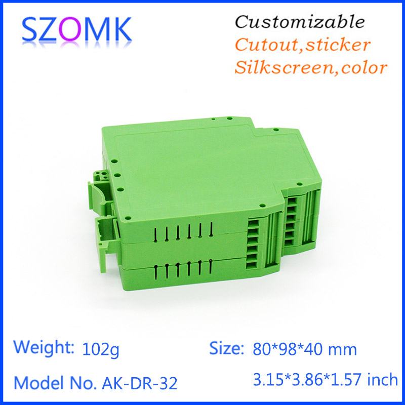 4 pcs a lot szomk plastic din rail enclosure control box pcb junction box PLC plastic electronics box din rail case 80*98*40mm