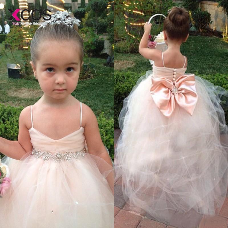 Pageant   Dresses   For   Girls   Spaghetti Sleeveless   Flower     Girl     Dresses   Blush Pink Kids Ball Gowns Formal   Dress   Sash Beading Belt