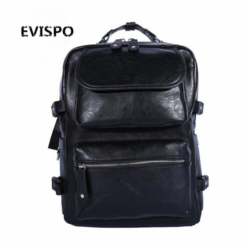 2016 New Men's Backpack Bucket Bag Black PU Leather Travel Bag Men 16.5-inch Laptop Bags Male Leisure High Capacity тайтсы adidas performance adidas performance ad094eguoi54