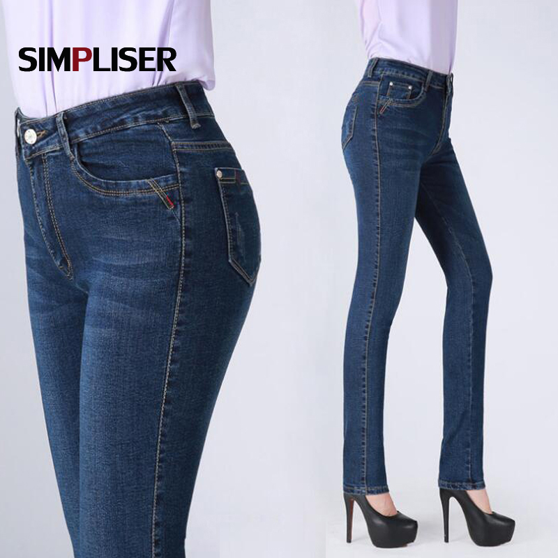 High Quality Women Denim Blue   Jeans   Pants 2018 New Mom   Jeans   Straight Trousers Large Size 38 36 Femme Pantalon Classic   Jeans