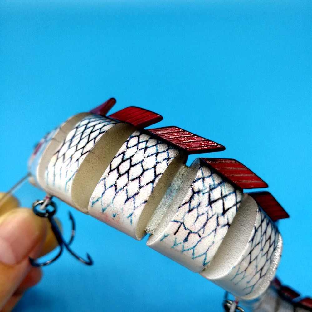 HOOFISH 1 Uds 13 segmentos de señuelo de pesca 46g/22,5 cm 3 colores de plástico de wobbler de Pesca artificial herramientas con 3X ganchos para fortalecer